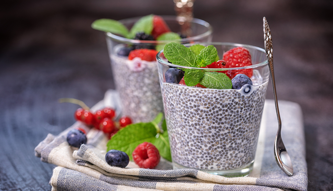Two glasses of chia seed pudding with fruit