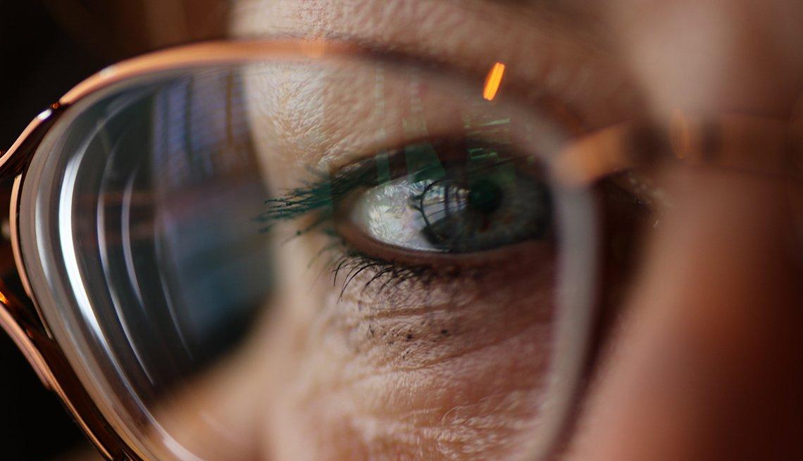 close up of eye through eye glasses