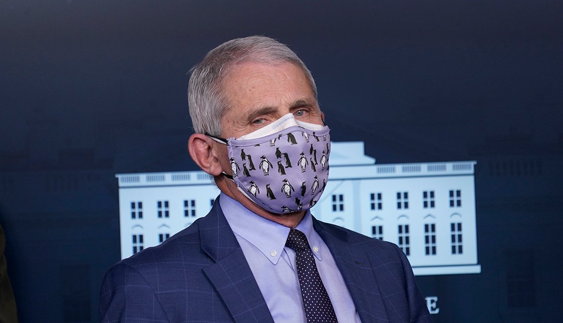 Anthony Fauci, director of the National Institute of Allergy and Infectious Diseases, wears protective masks during a news conference