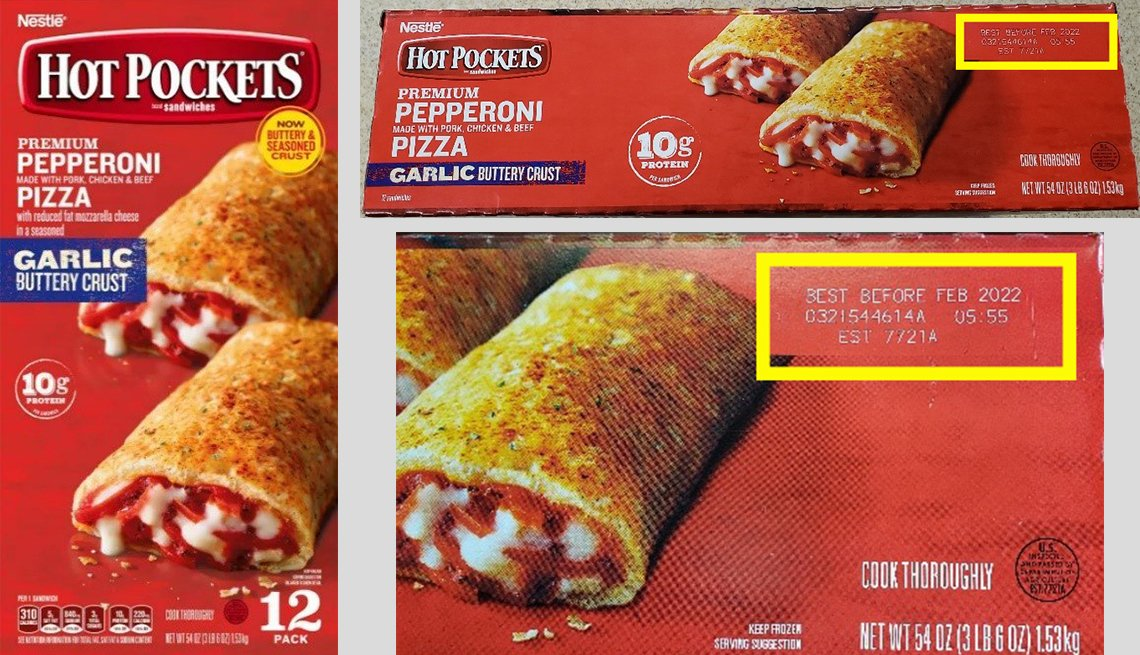 hot pockets packaging showing the batch number for a january 2021 food safety recall