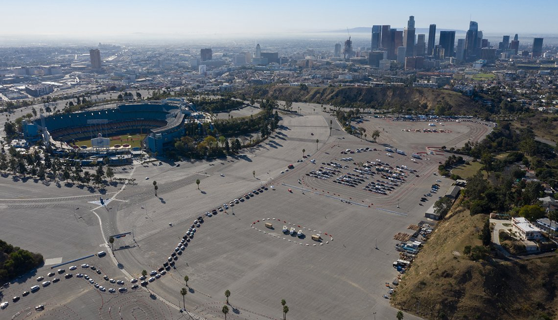 item 7 of Gallery image - aerial view of a covid vaccination site located in dodger stadium in los angeles california