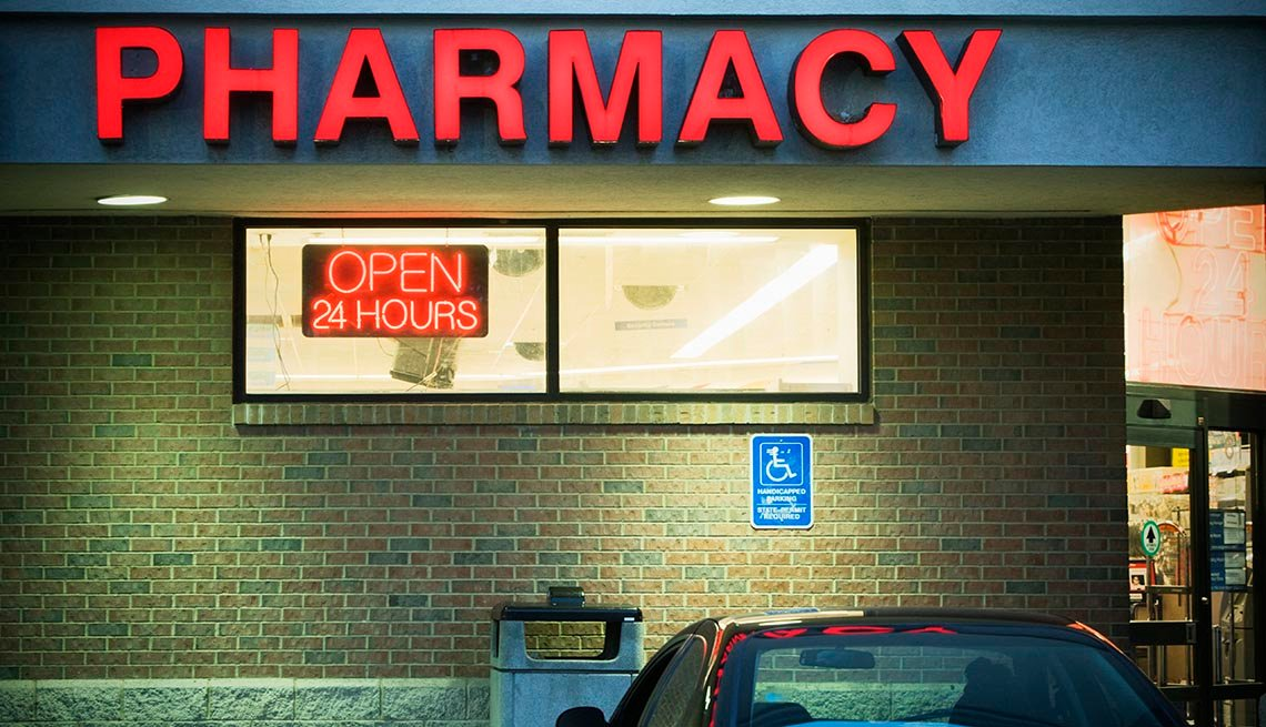 pharmacy sign on building