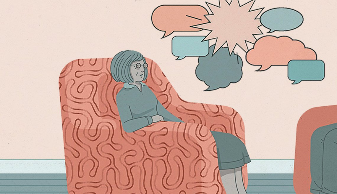 Illustration of a woman in talk therapy.
