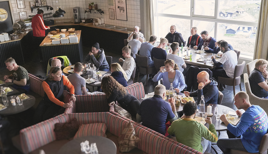 overhead shot of a busy restaurant