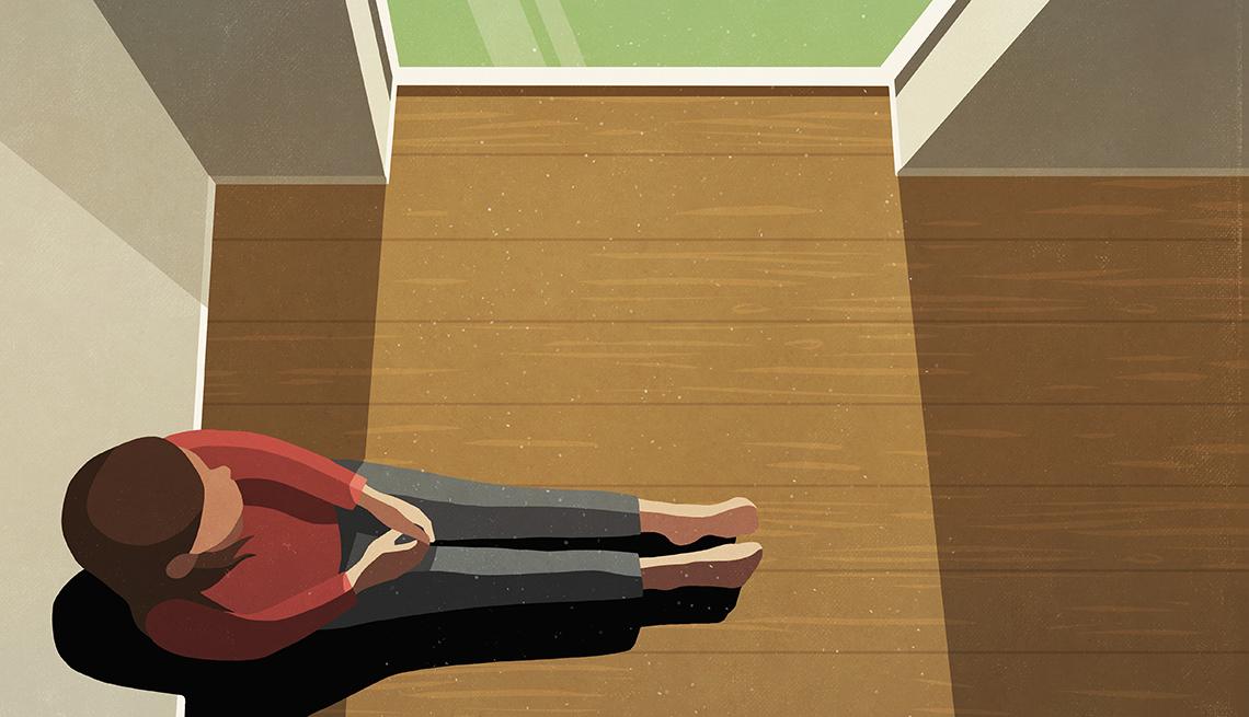 Ilustración de una mujer sola dentro de una casa mirando por una ventana