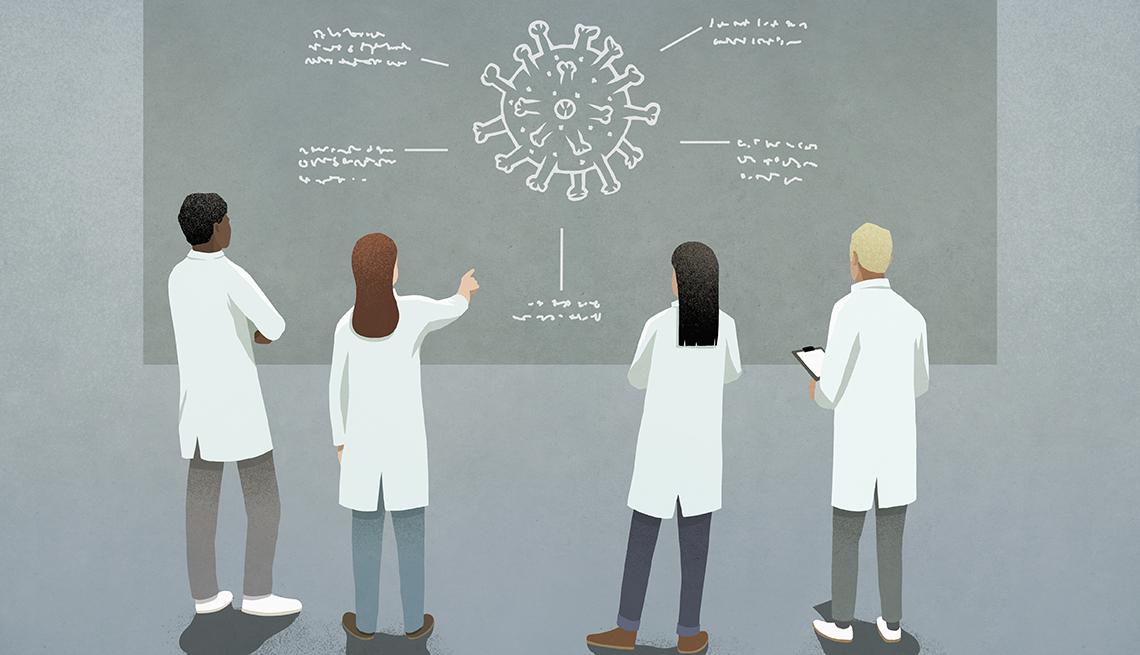 Illustration of researchers studying a coronavirus drawing on a chalk board