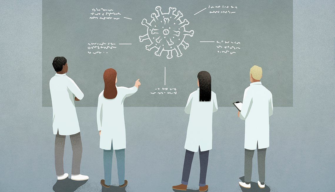 Illustration of researchers studying a coronavirus drawing on a chalk board