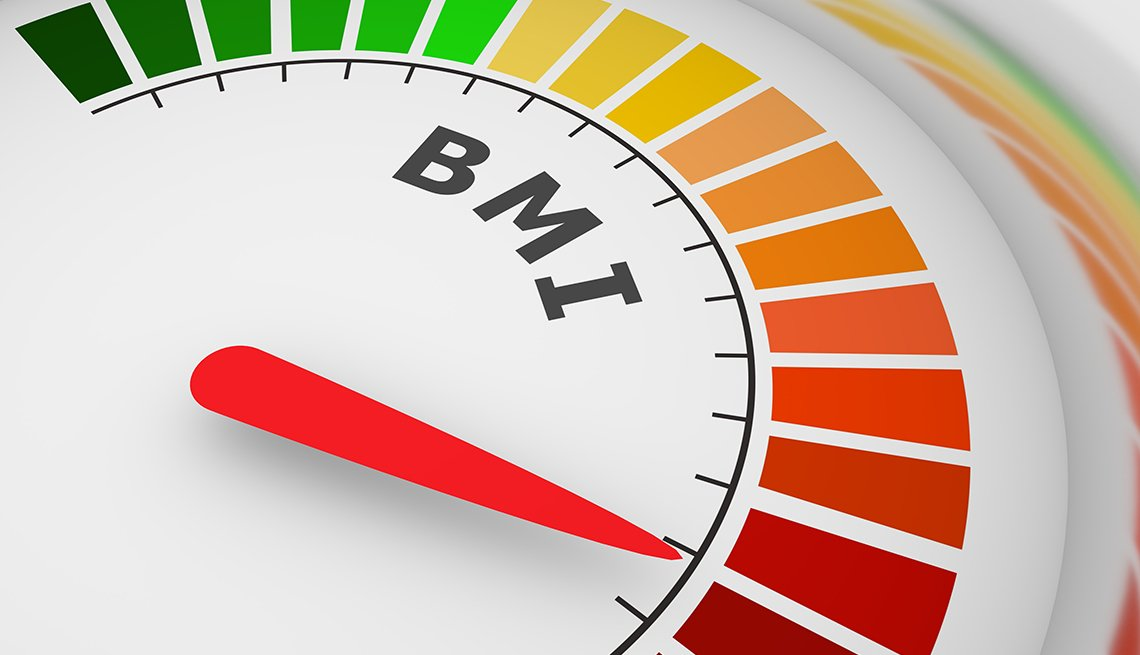 Body mass index meter read high level result. Color scale with arrow from green to red