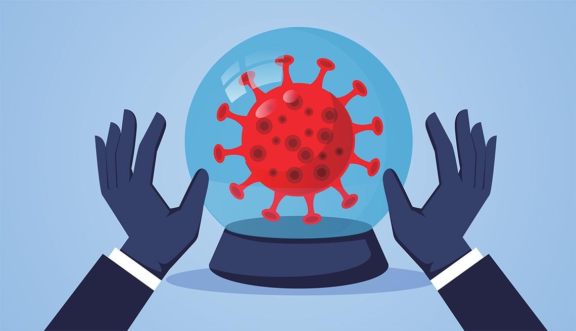 Ilustración del coronavirus en una bola de cristal y unas manos como prediciendo el futuro