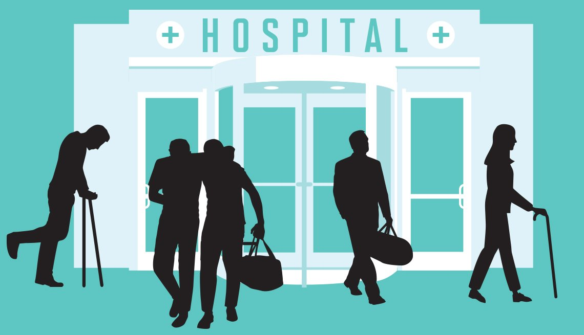 graphic of people walking in front of a hospital entrance