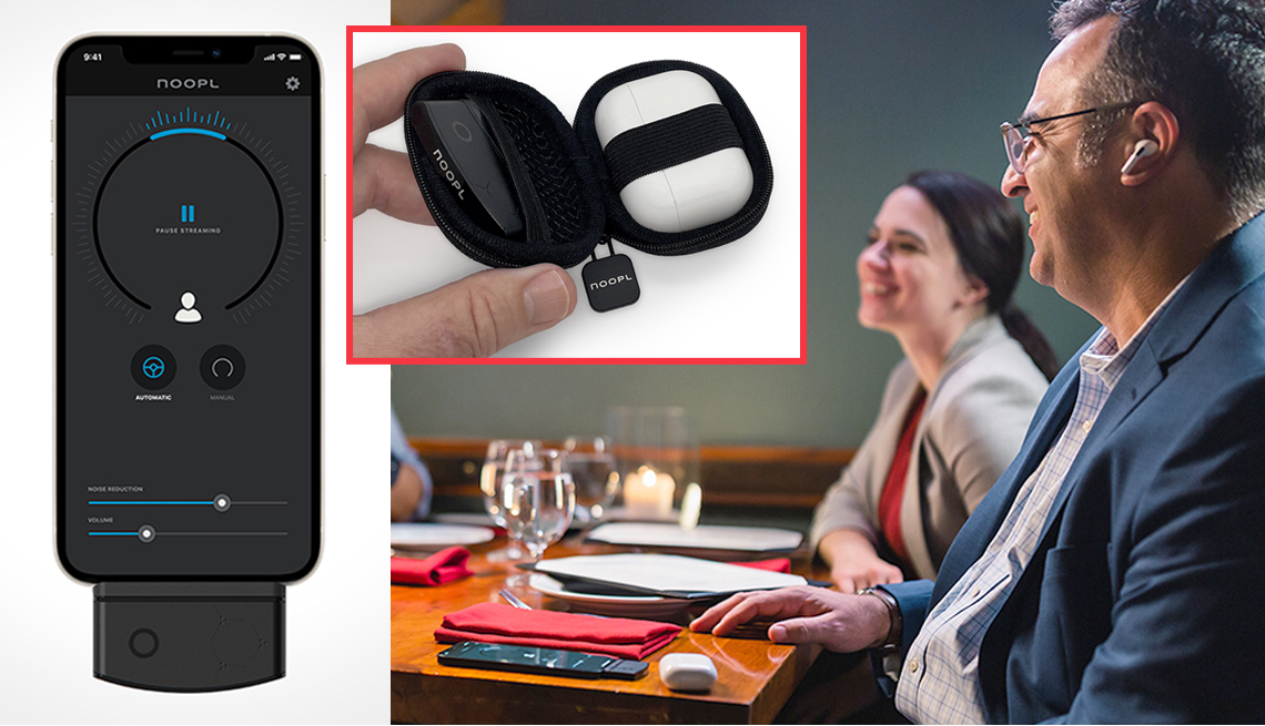 product images of the noopl iphone accessory that work with airpods along an image of a man using the device
