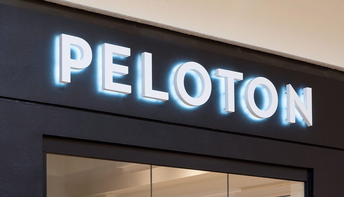 Peleton retail exercise store exterior and trademark logo