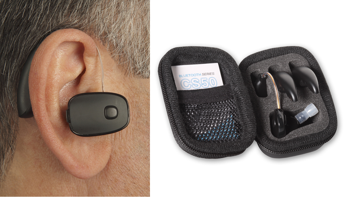 the sound world solutions c s 50 hearable as shown with someone wearing it and in its case
