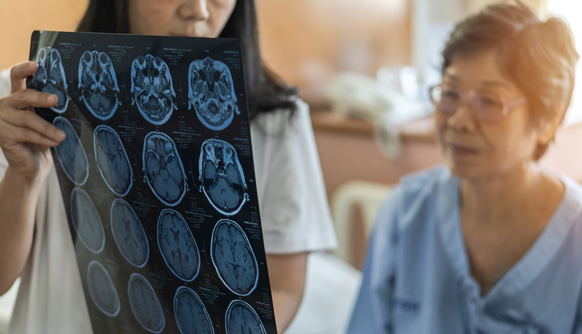 Brain disease diagnosis with medical doctor diagnosing older patient