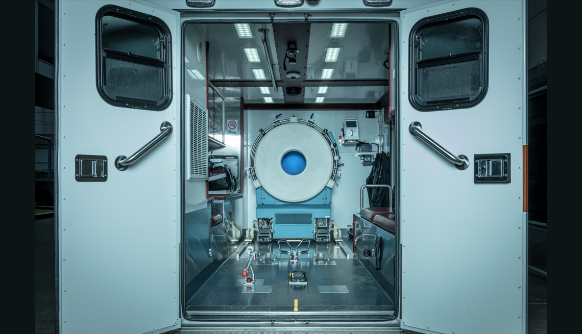 a photo of the inside of the mobile stroke unit c t scanner