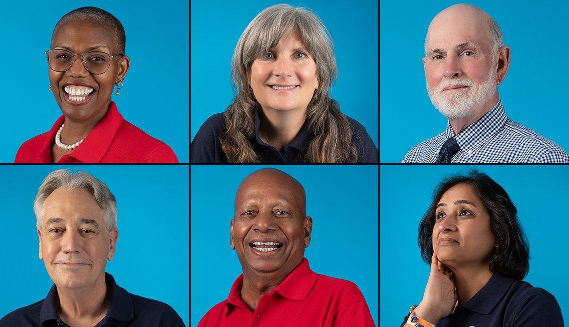 Voluntarios de los cuerpos de paz. Arriba: Judy Jones, Elizabeth Burke, David Mayo. Abajo: hil Rivers, Alexander Philiphose, Vishakha Wavde