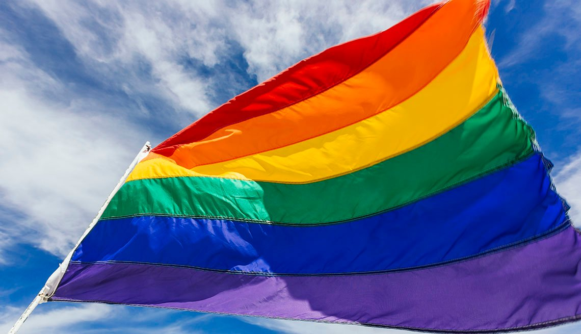 LGTBQ rainbow flag in front of blue sky