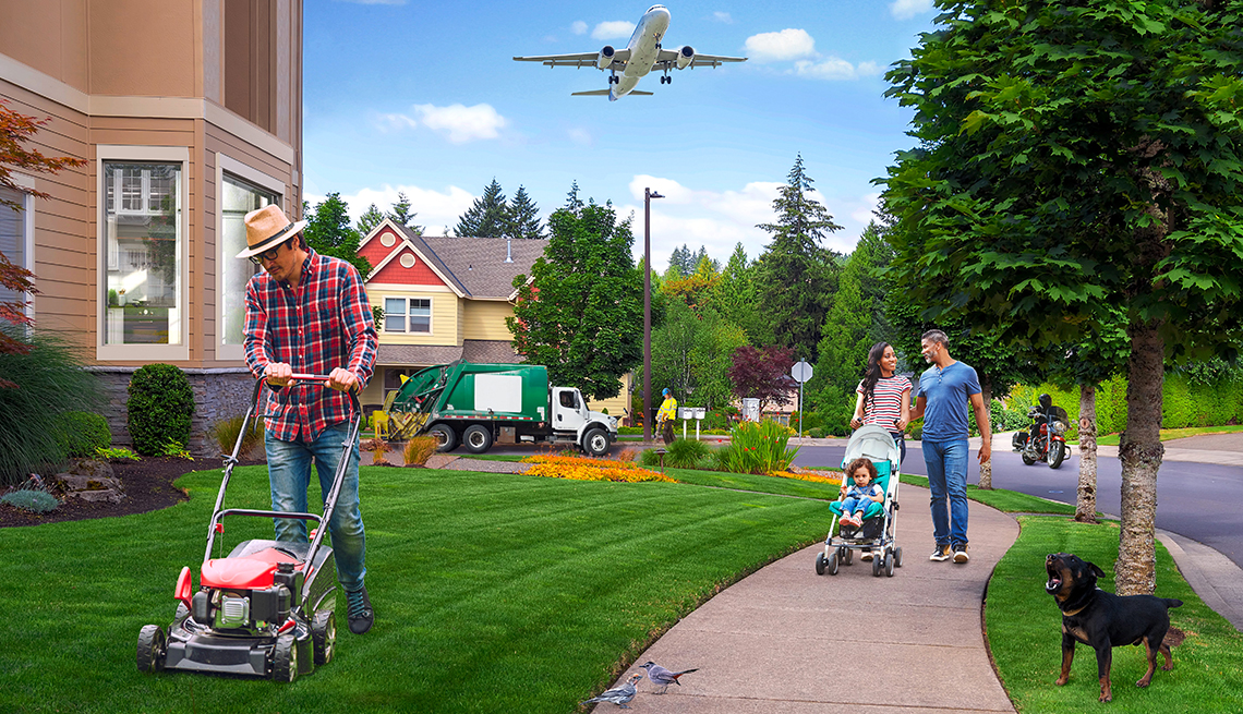 photo illustration of a suburban neighborhood that includes noise hazards such as a lawnmower jackhammer motorcycle garbage truck and dog barking as well as others