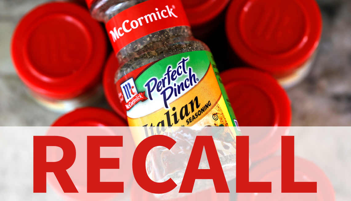 a bottle of mccormick perfect pinch italian seasoning on top of other mccormick bottles with the word recall over it