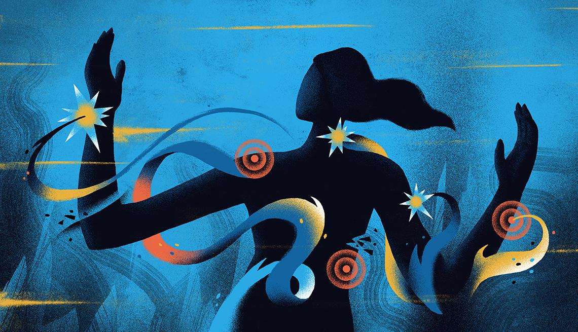 Ilustración de una mujer rodeada de ondulaciones y circulos de colores