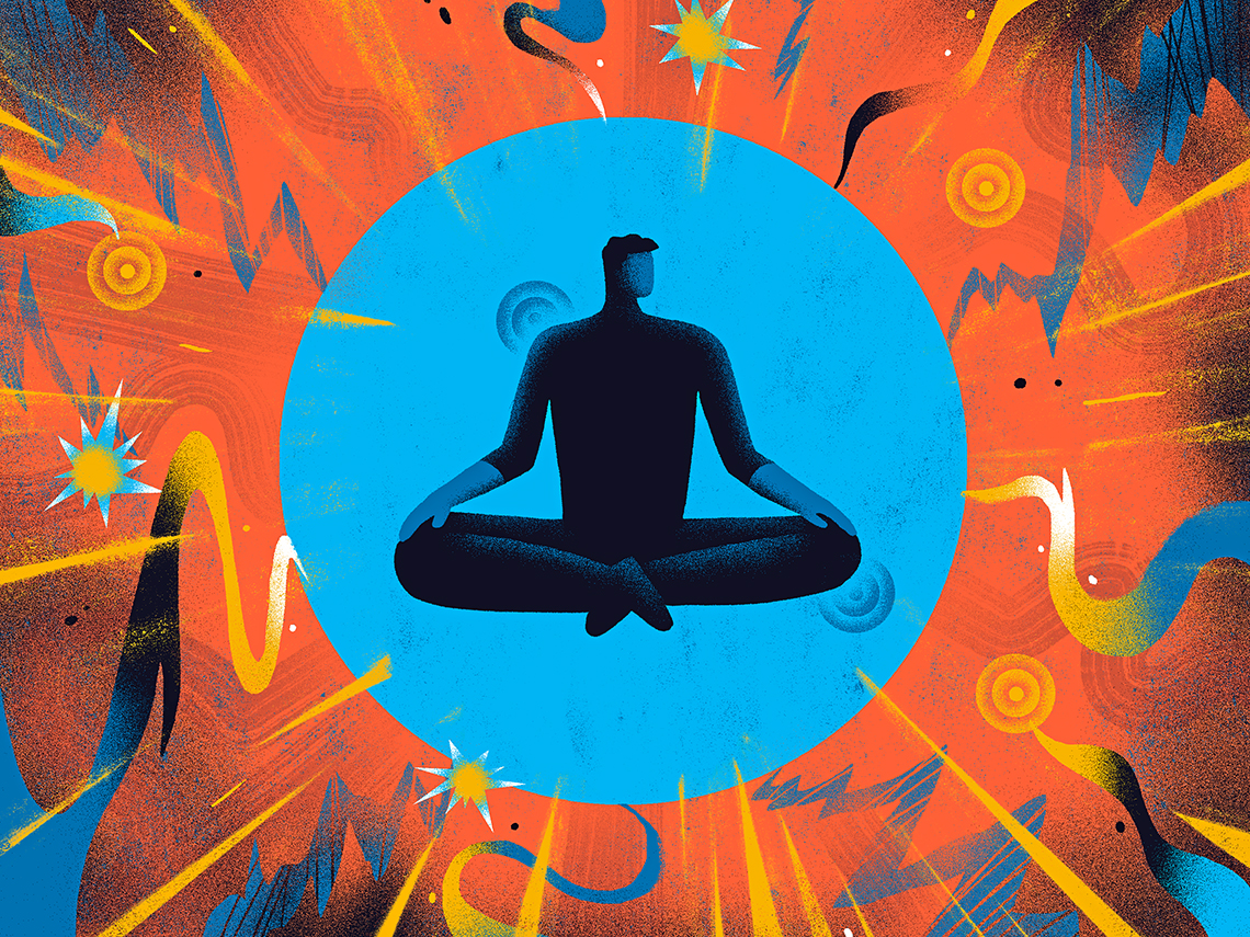 illustration of a person cross legged in a meditation pose to prevent outside stress attacks