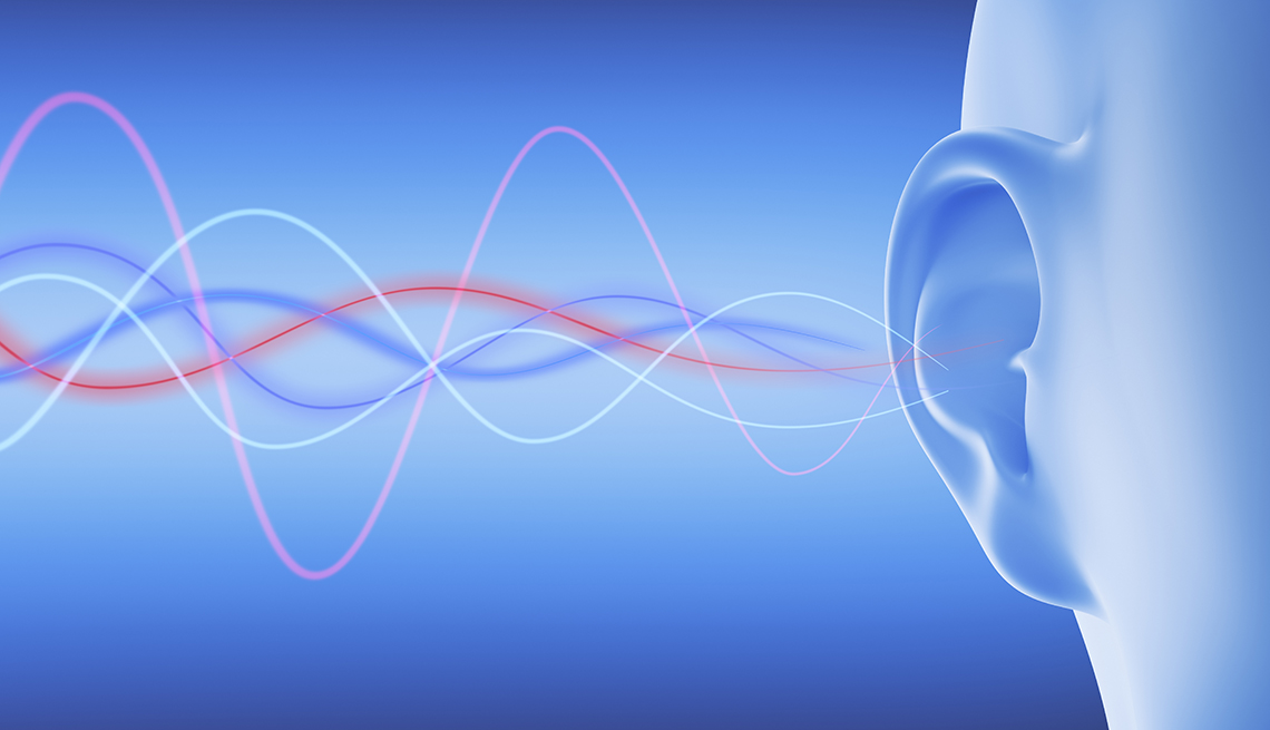 computer generated illustration of a persons ear with sound waves entering it