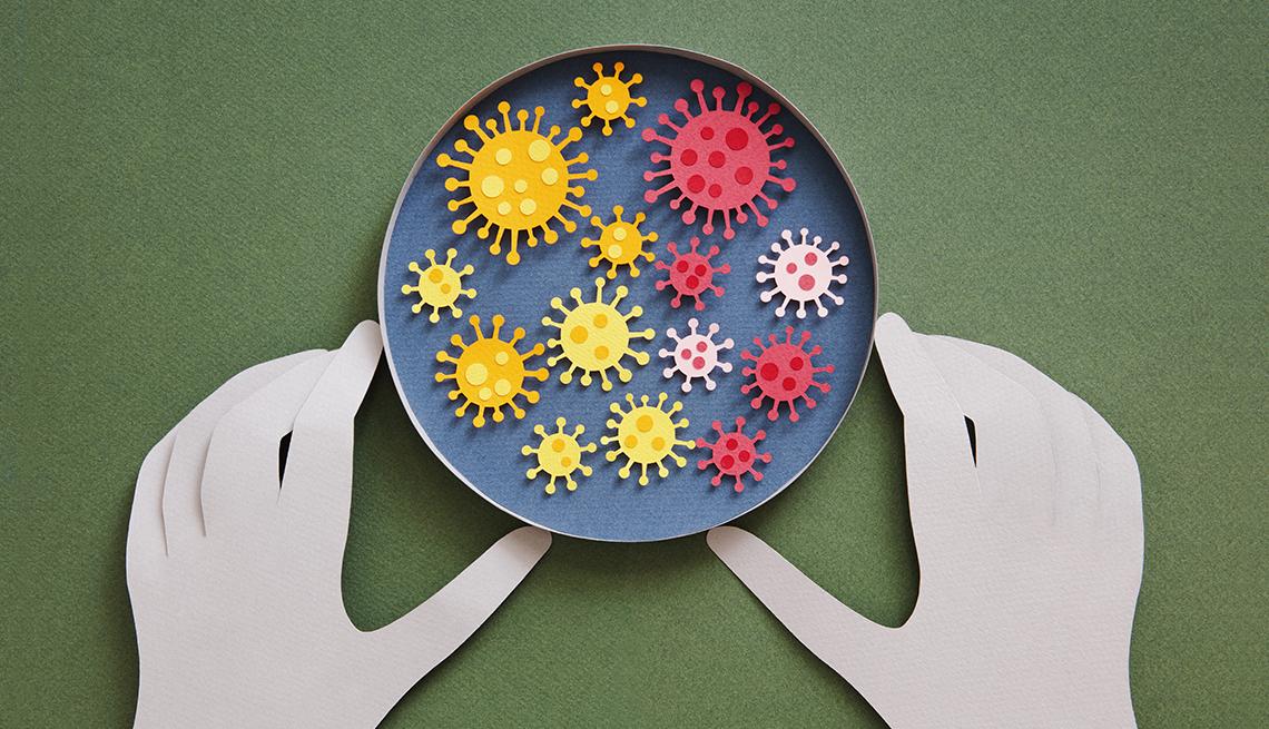 illustration of coronavirus variants in a dish.