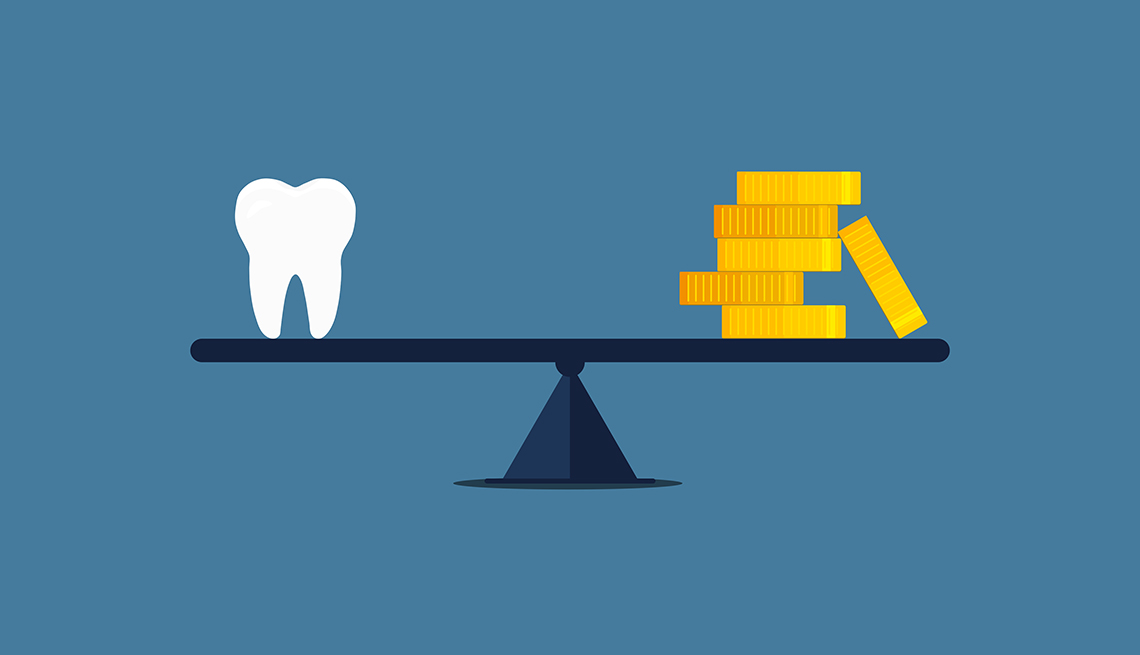 illustration of a tooth and coins on a seesaw, dental costs concept