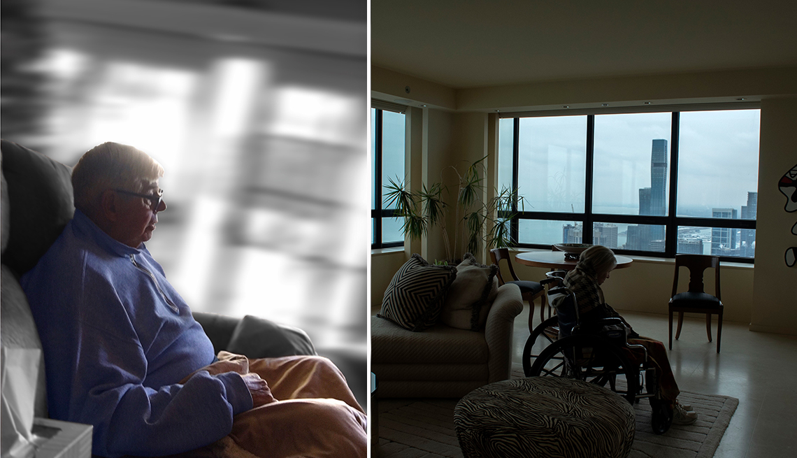 two photo portraits of people with dementia taken by students and chosen as contest winners