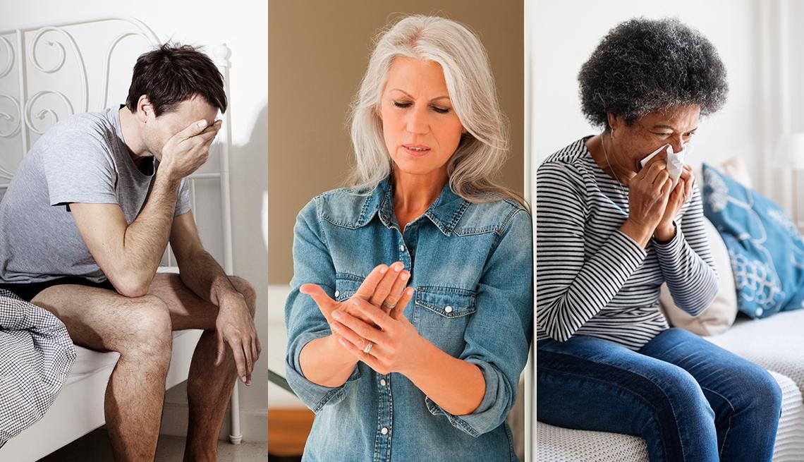 Tres personas con diferentes síntomas de inflamación