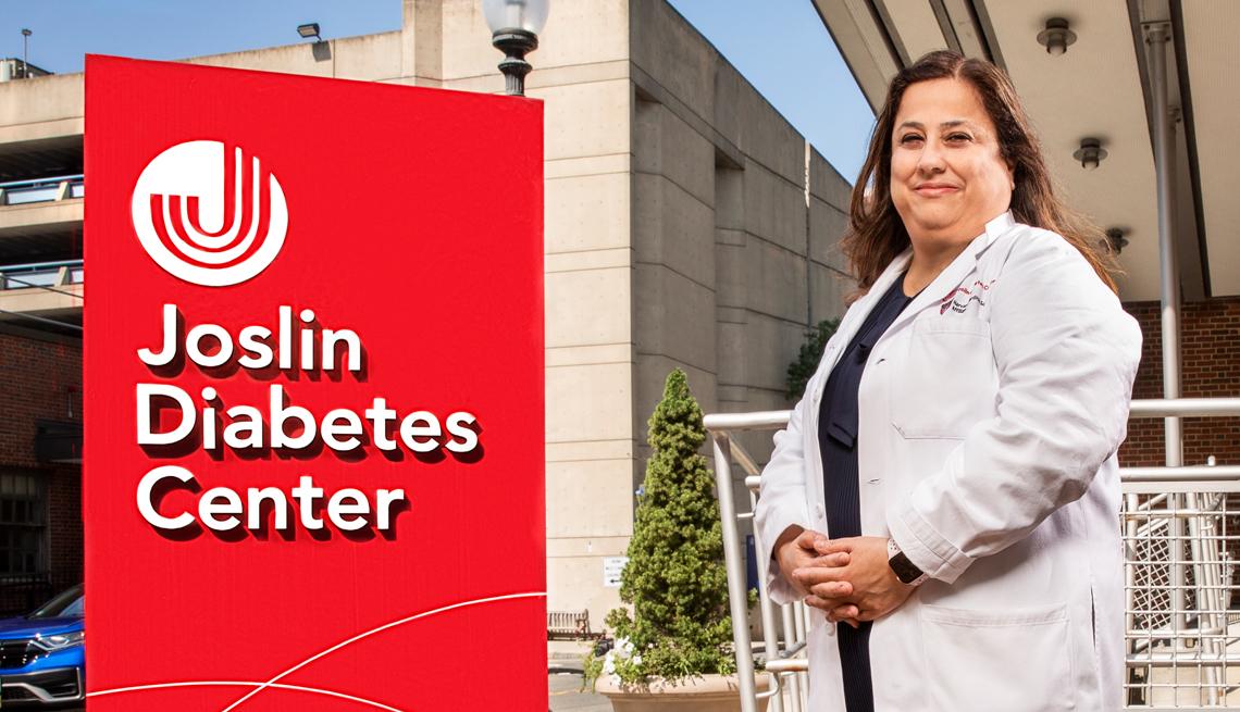 doctor sylvia rosas standing outside the joslin diabetes center