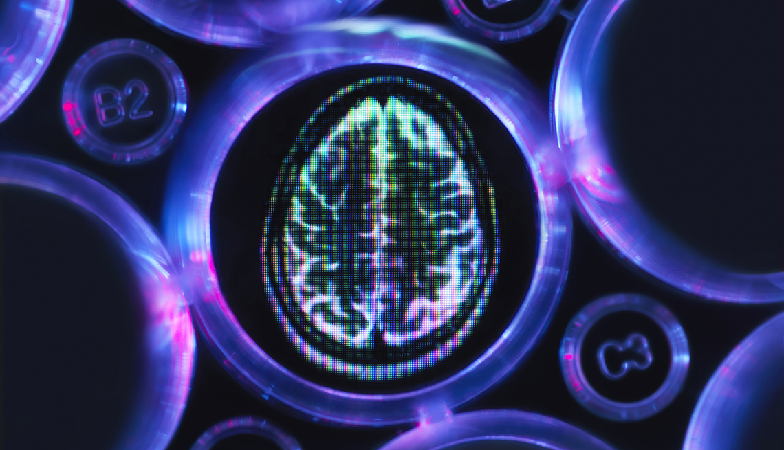 a brain scan in multi well tray used for research experiments in laboratory