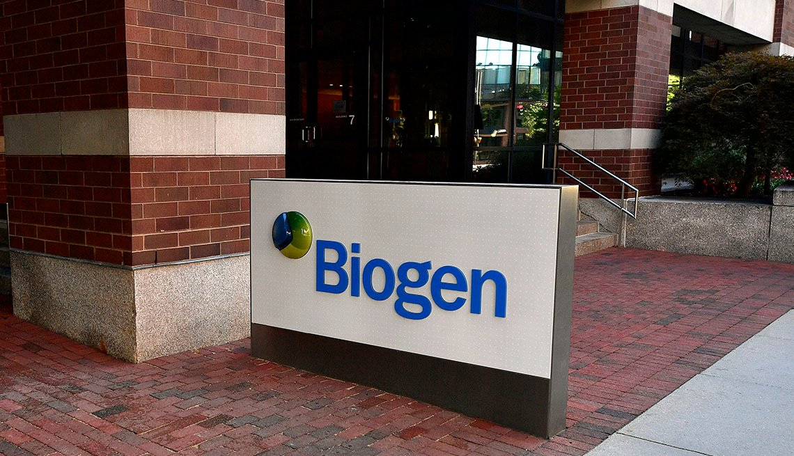 Biogen sign in front of offices in Cambridge, MA