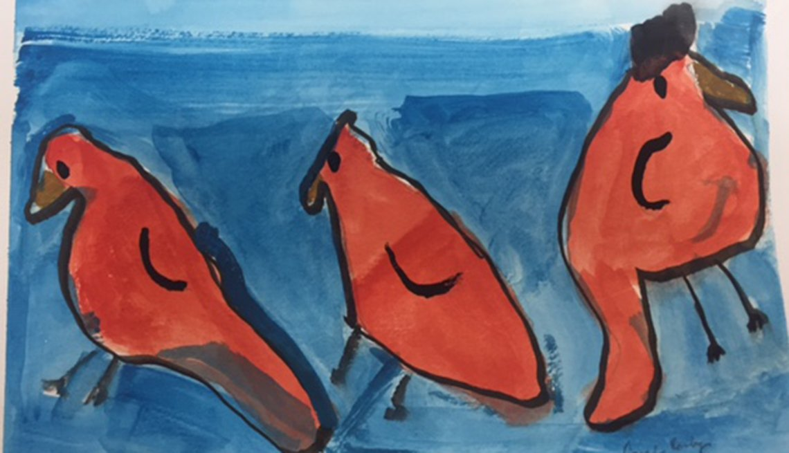 Painting of three red cardinals on a blue background. Artist is a dementia patient.