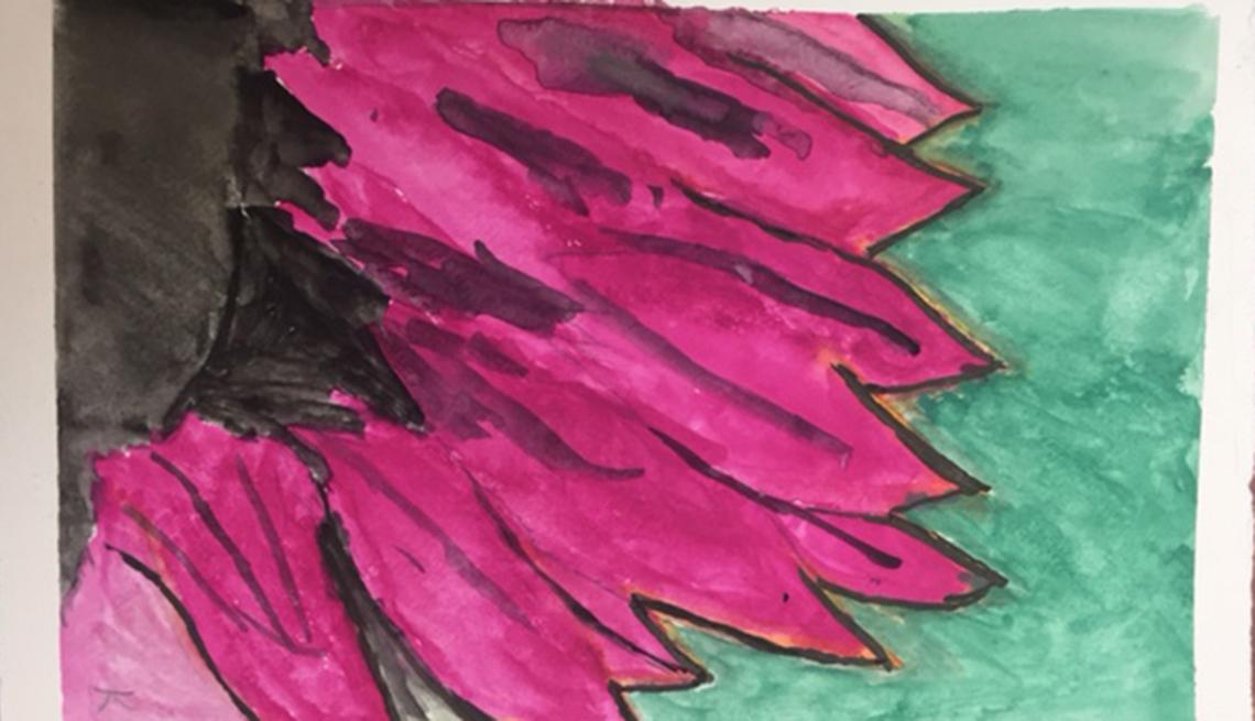 Pintura de una flor color fuschia