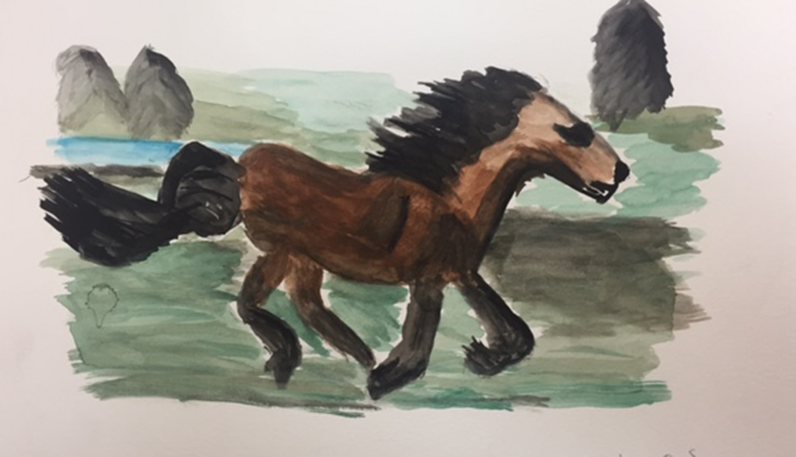 Painting of a brown horse running with grass and trees in the background. Artist is a dementia patient.