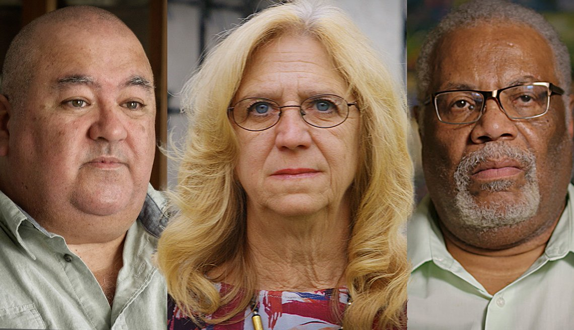 Three individual images of dementia patients.