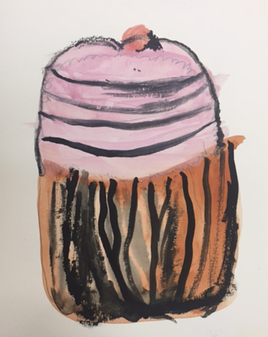 Painting of pink cupcake in a brown wrapper. Artist is a dementia patient.