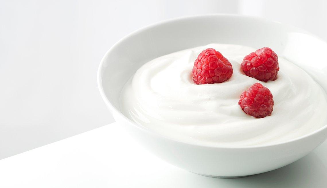 Yogur con frambuesas