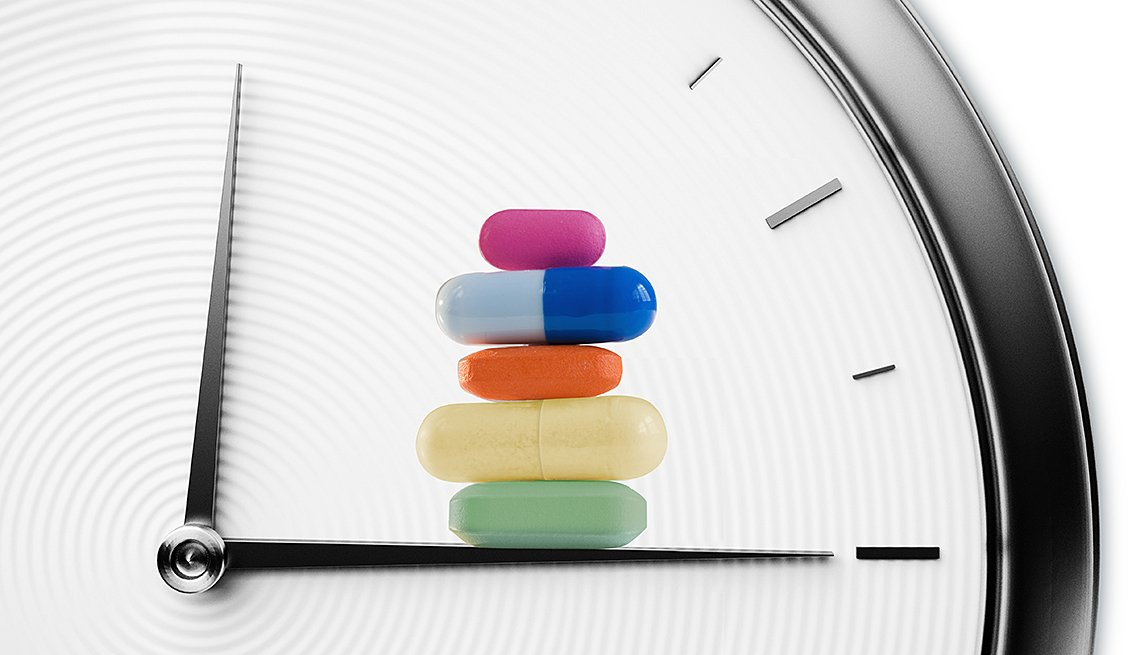 Reloj de fondo y pastillas sobre el minutero