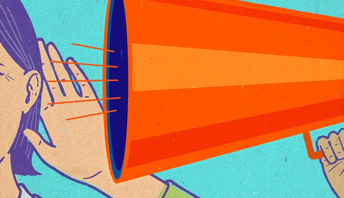 Ilustración de un megáfono hablando al oido de un persona