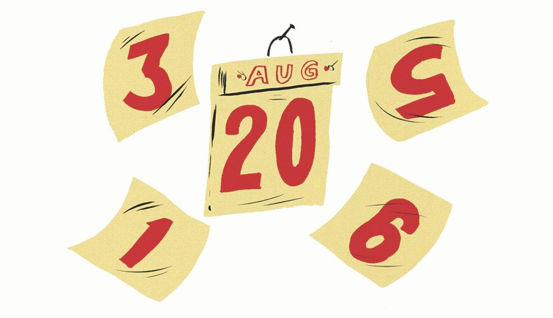 Páginas sueltas de un calendario del mes de agosto.