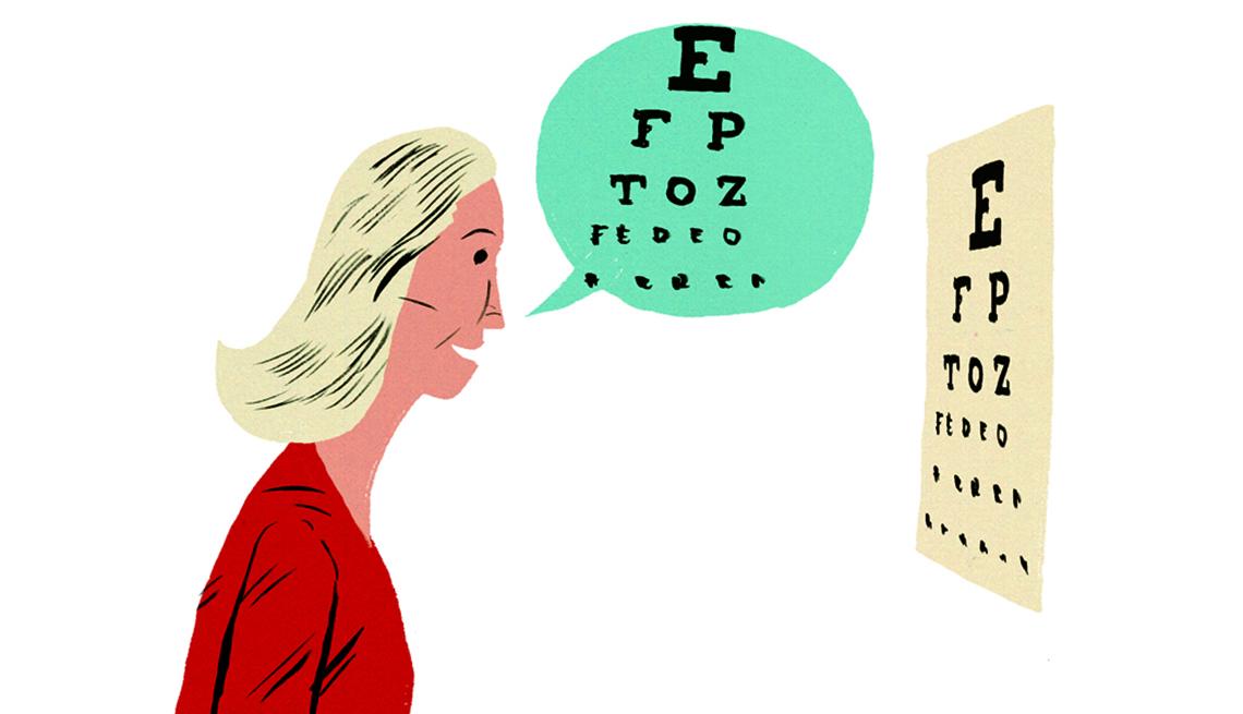 Mujer vestida de rojo leyendo letras en prueba de visión.