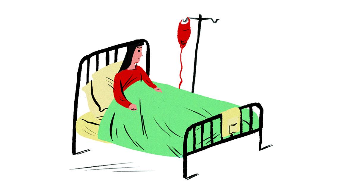 Dibujo de una mujer acostada en una cama de hospital recibiendo un suero.
