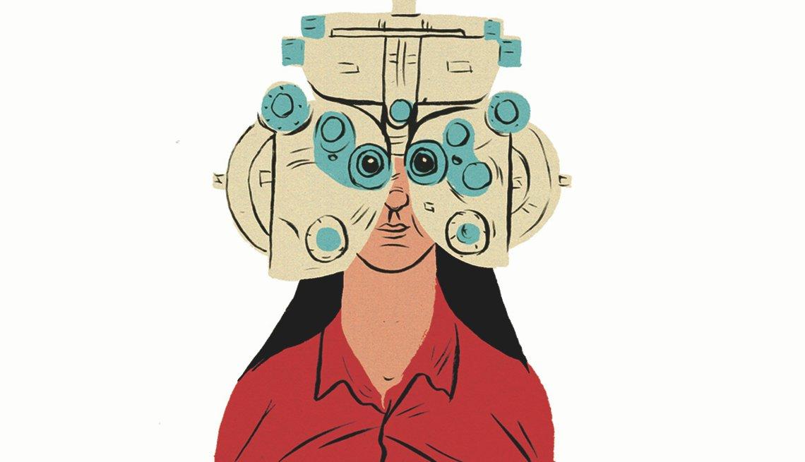 Mujer vestida de rojo en prueba de visión.