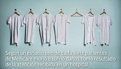 Uno de cada siete pacientes de Medicare murió o sufrió daños por errores médicos - Seis batas de pacientes cuelgan en una pared.