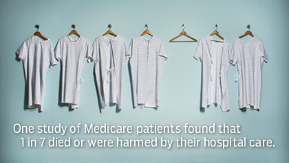 Six patient gowns hanging on a wall with one empty space. One study of Medicare patients found that 1 in 7 died or were harmed by their hospital care.