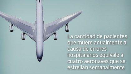 La cantidad de pacientes que muere anualmente a causa de errores hospitalarios equivale a cuatro aeronaves que se estrellan semanalmente - Avión mostrado desde arriba.