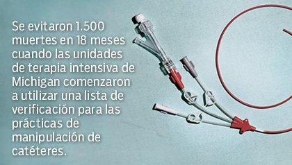 Se evitan muertes cuando se utilizan listas de verificación para las prácticas de manipulación de catéteres - Un catéter enroscado.