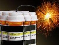 Cajas de medicamentos con una luz de bengala
